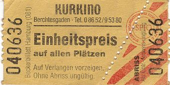An unseparated ticket for the Kurkino in Berchtesgaden (2005 or earlier)