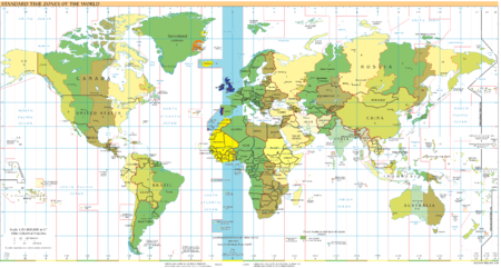 UTC+-00:00: blue (January), orange (July), yellow (all year round), light blue (sea areas) Timezones2011 UTC+0.png