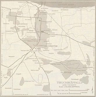 Golden Rock, Tiruchirappalli - A 1955 Map of Tiruchirappalli showing the position of Golden Rock