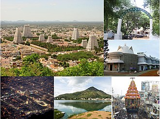 Tiruvannamalai - from top left clockwise, view of town with temple towers  in the centre and hills in the background , Sri Ramana Ashram entrance ,  Yogi ram surat kumar ashram , Tiruvannamalai Big chariot,  view of Tiruvannamalai hill from outskrits, Tiruvannamalai at night.