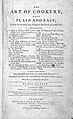 """Title-page Glasse, """"The art of cookery made plain and easy"""" Wellcome L0000147.jpg"""