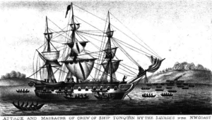 Battle of Woody Point - The Tonquin being boarded by Tla-o-qui-aht