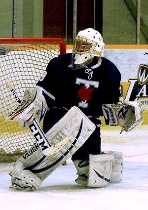 Toronto Varsity Blues men's ice hockey - Blues goalie during 2013-14 season.