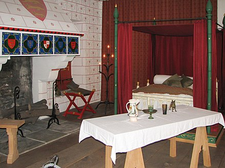 Reconstruction of Edward I's private chambers at the Tower of London with the pattern stones and roses on the wall Tower of London King's room.jpg
