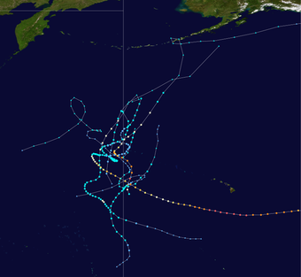 Tracks of tropical cyclones that crossed from the western Pacific to the central Pacific Tracks of West-Central Pacific crossover storms.png