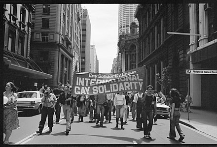 November 1978: Gay Solidarity Group supporters march in the Sydney CBD to protest the Briggs Initiative, which would have effectively banned gay and lesbian teachers in the U.S. state of California. Tribune negatives including Malcolm Fraser and gay solidarity march, Sydney, New South Wales, November 1978 (25678366327).jpg