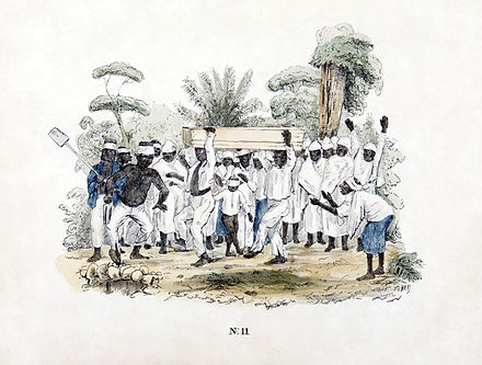 Funeral at slave plantation, Dutch Suriname. 1840-1850. Tropenmuseum Royal Tropical Institute Objectnumber 3444-7 Begrafenis bij plantageslaven2.jpg