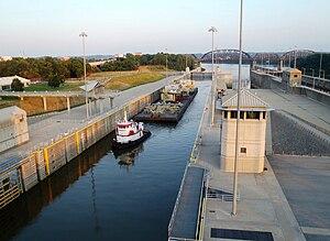 McAlpine Locks and Dam - Tugboat at McAlpine Locks and Dam, 2012