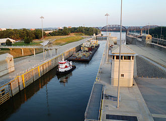 McAlpine Locks and Dam - Tugboat at McAlpine Locks and Dam, 2012