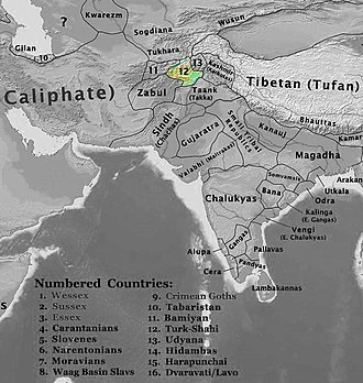 Turk Shahi - Lands of the Turk Shahi in 700 AD, after the secession of Zabulistan.