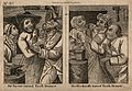 Two scenes of a farrier extracting a tooth from a male patie Wellcome V0012030.jpg