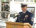 U.S. Coast Guard Senior Chief Petty Officer Thomas Cairns, the outgoing officer in charge of the harbor tugboat USCGC Wire (WYTL 65612), speaks after receiving the Coast Guard Commendation Medal in Saugerties 130524-G-SF967-542.jpg