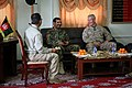 U.S. Marine Corps Lt. Gen. John A. Toolan, right, the commanding general of I Marine Expeditionary Force, and Afghan National Army Maj. Gen. Sayed Malook, the commander of the 215th Corps, speak with 140319-M-MF313-039.jpg