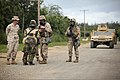 U.S. Marines with Combat Logistics Battalion Three (CLB-3), speak to one of the civilian role players during a humanitarian assistance disaster relief operation at Marine Corps Training Area Bellows on May 15 130515-M-BN443-077.jpg