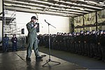 U.S. Navy Capt. Greg Fenton, the commanding officer of the aircraft carrier USS George Washington (CVN 73), addresses crew members during an all-hands call in the ship's hangar bay Jan. 3, 2014, in Yokosuka 140103-N-BX824-019.jpg