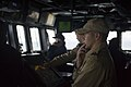 U.S. Sailors assigned to the guided missile destroyer USS Truxtun (DDG 103) work with Romanian sailors on the ship's bridge while underway in the Bosphorus strait March 7, 2014 140307-N-EI510-088.jpg