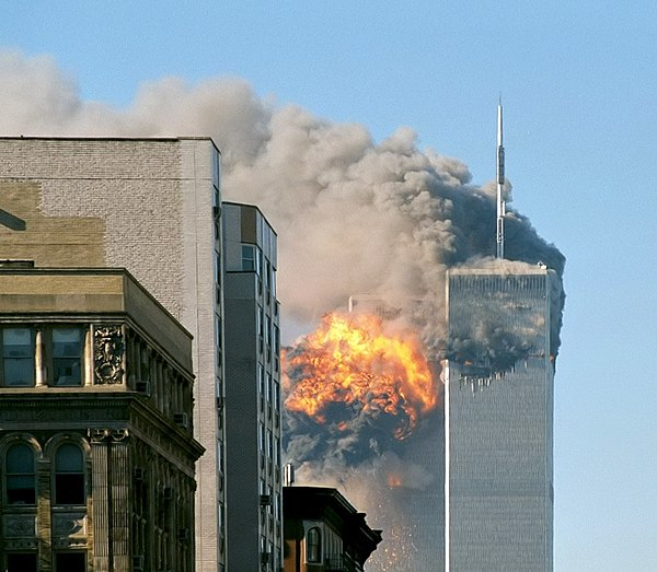 United Airlines Flight 175 hits the South Tower of the World Trade Center during the September 11 attacks of 2001 in New York City. UA Flight 175 hits WTC south tower 9-11 edit.jpeg