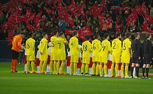 Luciano Vietto - Vietto (3rd from left) lining up alongside his Villarreal teammates in 2015