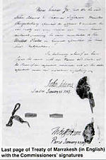 The last page of 1786  treaty of friendship. sealed by Mohammed III of Morocco, Thomas Jefferson and John Adams.