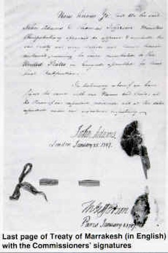 Military history of Morocco - The last page of 1786 treaty of friendship sealed by Mohammed III of Morocco, Thomas Jefferson and John Adams