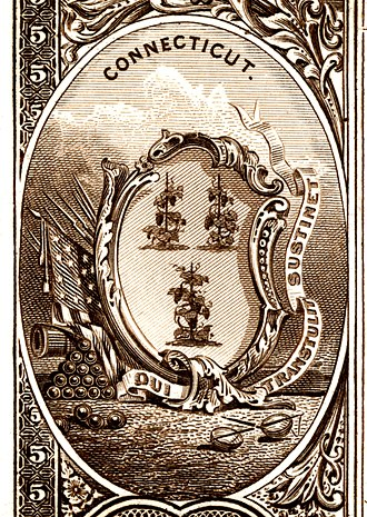 Historical coats of arms of the U.S. states from 1876 - Image: US NBN CT state seal detail (Series 1882BB reverse) proof