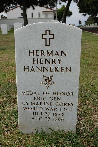 Herman H. Hanneken - Hanneken's grave at Fort Rosecrans National Cemetery