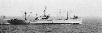 USS Antares (AK-258) - Image: USS Antares (AKS 33) with HUS 1