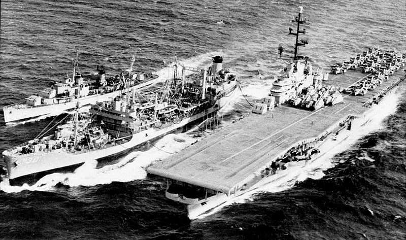 File:USS Chemung (AO-30) refuels USS Philippine Sea (CVS-47) and a destroyer, in 1958.jpg