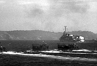 Battle of Corregidor (1945) - Image: USS Claxton (DD 571) shelling Corregidor, in February 1945