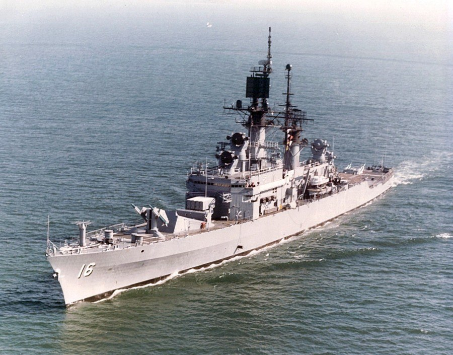 USS Leahy (CG-16) at sea off San Diego, in May 1978