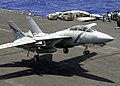 US Navy 030518-N-0295M-008 An F-14D Tomcat comes in for a landing aboard the aircraft carrier USS Constellation (CV-64) after completing Aerial Combat Maneuvers (ACM) training.jpg