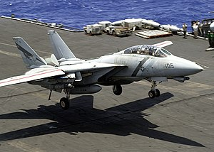 VFA-2 - Image: US Navy 030518 N 0295M 008 An F 14D Tomcat comes in for a landing aboard the aircraft carrier USS Constellation (CV 64) after completing Aerial Combat Maneuvers (ACM) training