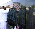 US Navy 030527-N-0962S-001 Sailors from USS Oak Hill (LSD 51) pay a final tribute to the Vietnam Wall Experience before the wall was packed up and shipped to Happague, N.Y.jpg