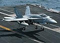 US Navy 040629-N-5469W-022 An F-A-18C Hornet assigned to the Sidewinders of Strike Fighter Squadron Eight Six VFA-86 makes an arrested landing aboard USS Enterprise CVN 65.jpg