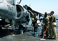 US Navy 040810-N-1238B-057 U.S. Marines assigned to the 22nd Marine Expeditionary Unit (MEU) Special Operations Capable, wash down an AV-8B Harrier.jpg