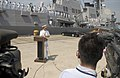 US Navy 050902-N-9851B-012 Commander, Carrier Strike Group Five, Rear Adm. Douglas L. McClain welcomes the Arleigh Burke-class guided missile destroyer USS Lassen (DDG 82).jpg