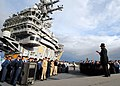 US Navy 070604-N-7981E-049 Dr. Gene Griessman delivers the Gettysburg Address while portraying Abraham Lincoln before members of the crew on the flight deck of the Nimitz-class aircraft carrier USS Abraham Lincoln (CVN 72).jpg