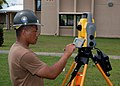 US Navy 070801-F-8678B-039 Engineering Aide 2nd Class Randy Felipe attached to Naval Mobile Construction Battalion (NMCB) 4, trains on the new Trimble 5600DX Total Station series, survey equipment.jpg