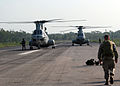 US Navy 071124-M-3095K-019 A pair of CH-46E Sea Knight helicopters from the 22nd Marine Expeditionary Unit (MEU) (Special Operations Capable) prepares to depart Barisal Airfield in southern Bangladesh.jpg