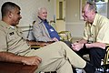 US Navy 081114-N-9818V-175 Master Chief Petty Officer of the Navy (MCPON) Joe R. Campa Jr. talks with Robert Devaney and R.A. Hawthorne at the Armed Forces Retirement Home in Washington.jpg