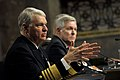 US Navy 100225-N-8273J-046 Chief of Naval Operations (CNO) Adm. Gary Roughead, along with Secretary of the Navy (SECNAV) the Honorable Ray Mabus and Commandant of the Marine Corps Gen. James T. Conway, answer questions from mem.jpg