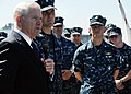 US Navy 100812-N-2259P-025 U.S. Secretary of Defense Robert M. Gates meets with crew members aboard the destroyer USS Higgins (DDG 76).jpg