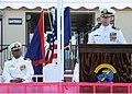 US Navy 100917-N-1906L-006 Cmdr. David Suchyta, right, delivers his remarks to guests at a change of command ceremony.jpg