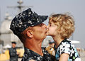 US Navy 110510-N-DU438-039 Fire Controlman 2nd Class Geoffrey J. Bourget, assigned to the guided-missile cruiser USS Gettysburg (CG 64), kisses his.jpg