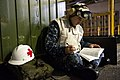 US Navy 110815-N-DX615-014 Hospital Corpsman 3rd Class Charles Carroll, from St. Clair Shores, Mich., studies in-rate material for the upcoming Nav.jpg