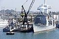 US Navy 110831-N-ZC343-596 The mine countermeasures ship USS Sentry (MCM 3) and the guided-missile cruiser USS Lake Champlain (CG 57) undergo maint.jpg