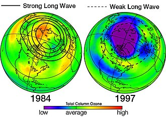 Ozone depletion - Ozone hole in North America during 1984 (abnormally warm reducing ozone depletion) and 1997 (abnormally cold resulting in increased seasonal depletion). Source: NASA