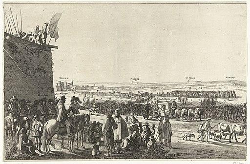 Uittocht van het Spaanse garnizoen uit Hulst (linkerblad), 1645 Uyt Toocht der 'Stadt Hulst (titel op object), RP-P-OB-81.566A