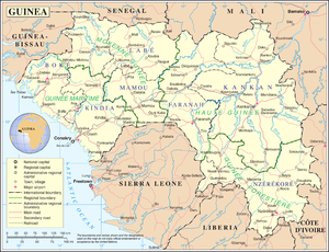 Geography of Guinea - A map showing Guinea's cities and administrative divisions.