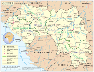 Subdivisions of Guinea - Guinea's natural regions of Maritime, Middle, Upper, and Forested.